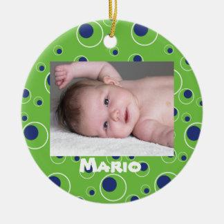Green and Blue Circles Dot Custom Pattern Oranment Ornaments