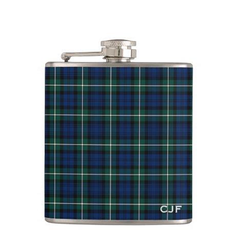 Green and Blue Clan Forbes Tartan Monogram Flask