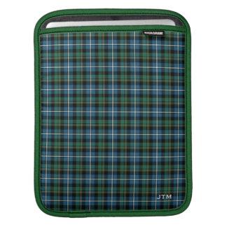 Green and Blue Clan MacRae Hunting Tartan Monogram iPad Sleeve