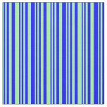 [ Thumbnail: Green and Blue Colored Lined/Striped Pattern Fabric ]
