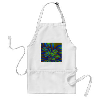 Green and Blue Colorful Abstract Stripes Pattern Adult Apron