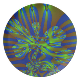 Green and Blue Colorful Abstract Stripes Pattern Melamine Plate