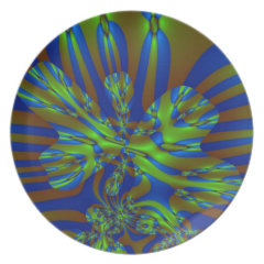 Green and Blue Colorful Abstract Stripes Pattern Party Plates