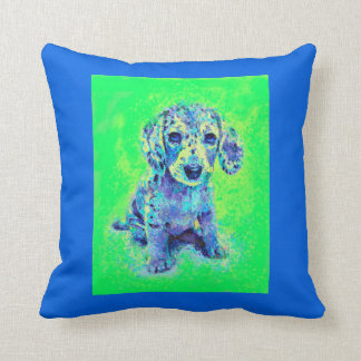 green and blue dachshund puppy throw pillow