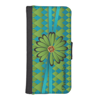 Green and Blue Daisy Diamond iPhone 5 Wallet Cases