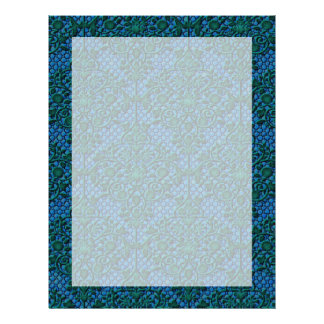 Green and Blue Damask Letterhead