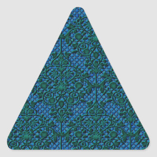 Green and Blue Damask Triangle Sticker