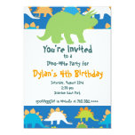 Green and Blue Dinosaur Birthday Party Invitations