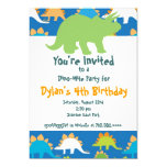 "Green and Blue Dinosaur Birthday Party Invitations 5"" X 7"" Invitation Card"