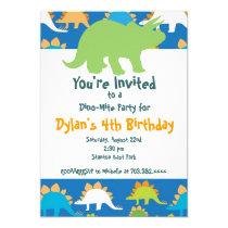 Green and Blue Dinosaur Birthday Party Invitations