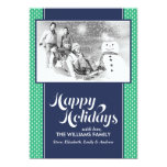 Green and Blue Dotted Lines Custom Holiday Cards Personalized Invite