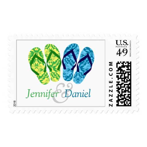 Green And Blue Flip Flops Summer Wedding Stamp