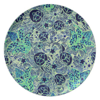 Green and blue floral design for your plate