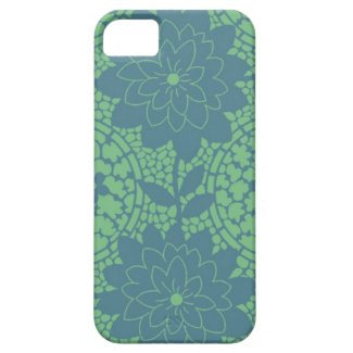 green and blue floral lattice pattern