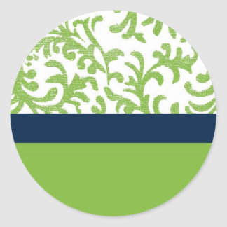 Green and Blue Floral Pattern Classic Round Sticker