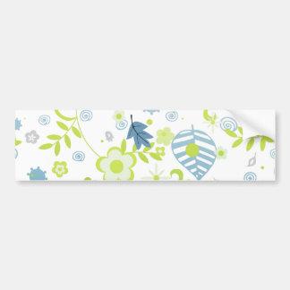 Green and blue flowers bumper sticker