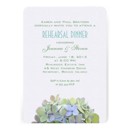Green and Blue Flowers Rehearsal Dinner Invite