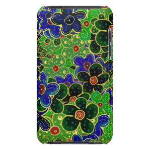 green and blue flowers with gold repeating pattern iPod Case-Mate case