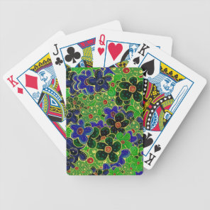 green and blue flowers with gold trim bicycle playing cards