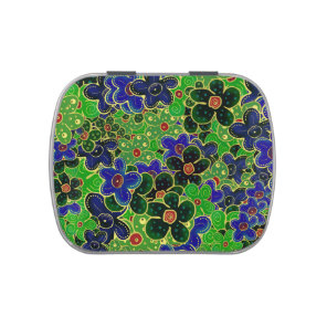 green and blue flowers with gold trim candy tin