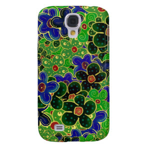 Green and blue flowers with gold trim galaxy s4 case