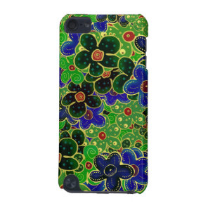 green and blue flowers with gold trim iPod touch 5G cover