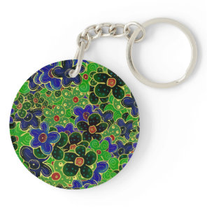 green and blue flowers with gold trim keychain