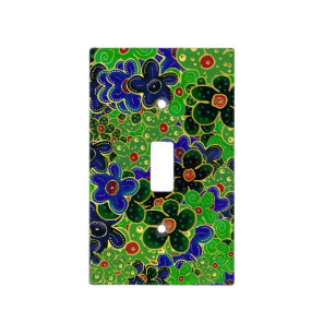 green and blue flowers with gold trim light switch cover