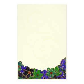 green and blue flowers with gold trim stationary stationery