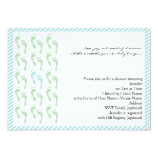 Green and Blue Footprints Baby Shower Invitation