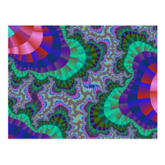 Green and Blue Fractal Gear Postcards