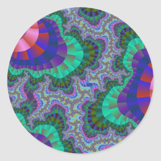Green and Blue Fractal Gear Round Stickers