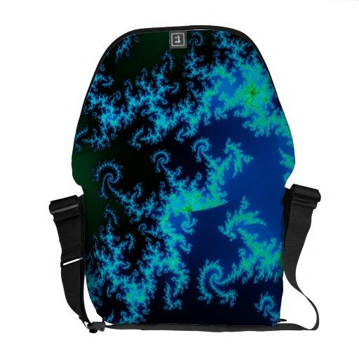 Green and blue fractal messenger bag