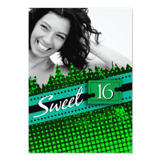 Green and Blue Funky Sweet 16 Birthday Photo Card
