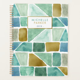 Green and Blue Geometric Watercolor Shapes Planner