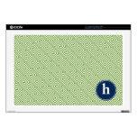 Green and Blue Greek Key Pattern Monogram Laptop Skin