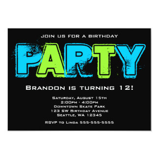 Green and Blue Grunge Birthday Party 5x7 Paper Invitation Card