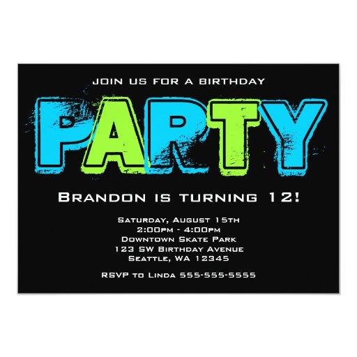 Green and Blue Grunge Birthday Party Custom Invite
