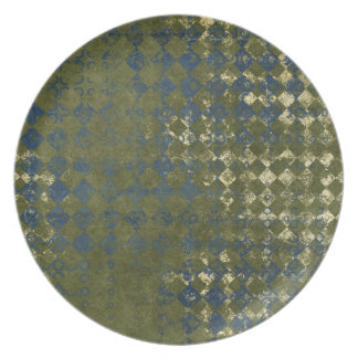 green and blue grunge diamond pattern party plates