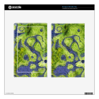 GREEN AND BLUE GRUNGE KINDLE FIRE SKINS