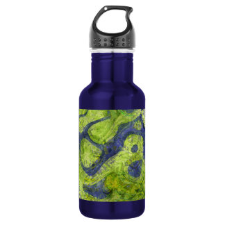 GREEN AND BLUE GRUNGE STAINLESS STEEL WATER BOTTLE