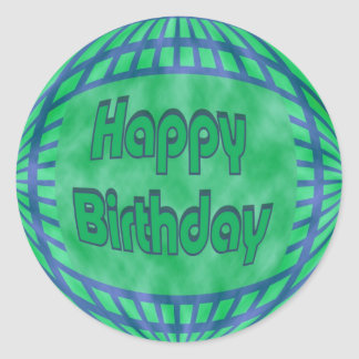 green and blue Happy Birthday Classic Round Sticker
