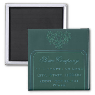 Green And Blue Heart Damask 2 Inch Square Magnet