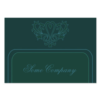 Green And Blue Heart Damask Large Business Cards (Pack Of 100)