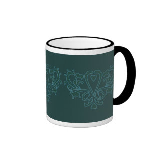 Green And Blue Heart Damask Ringer Coffee Mug