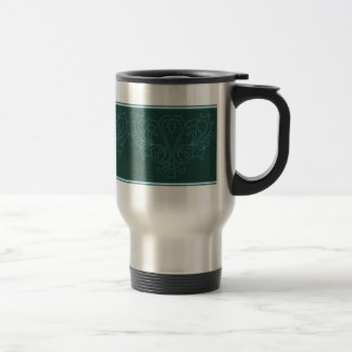 Green And Blue Heart Damask 15 Oz Stainless Steel Travel Mug