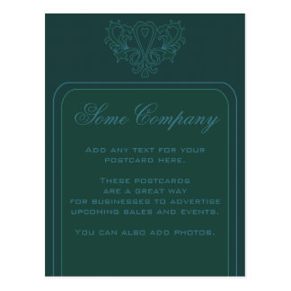 Green And Blue Heart Damask Postcard