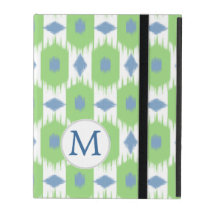 Green and Blue Ikat Pattern iPad Folio Cases
