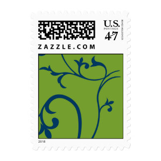 Green and blue leaf vine postage