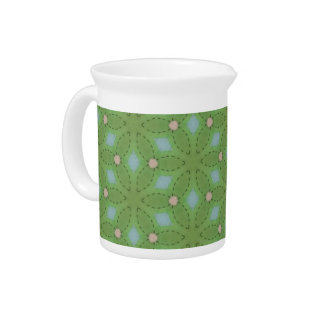Green and Blue Leafy Pattern Pitcher